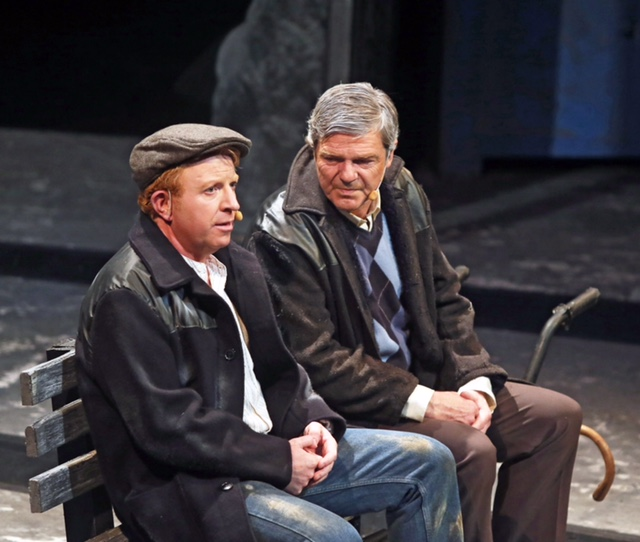 "Patrick Murphy, (Tommy Fleming) chats with Paddy ""The Shovel"" Kennedy (Gerry Carney)  in ""Paddy"" a Musical Drama on Irish Emigration. Photo: © Michael Donnelly"